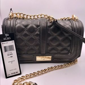 Authentic BCBG Slate & Gold Quilted Chain Purse